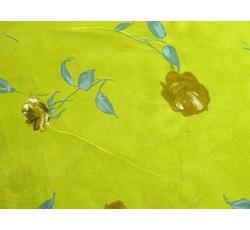 Šifony - šifon 052 limetkový s květy