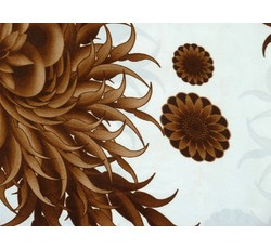 Satény - šatový satén 8649 hnědé rostliny