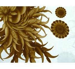 Satény - šatový satén 8649 zlaté rostliny