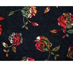 Úplety - černý úplet 8683 s barevnými květy