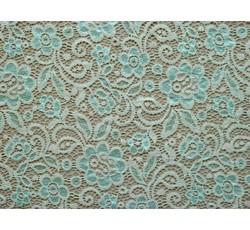 Krajky - krémová elastická krajka 8710 tyrkysový květ