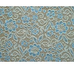 Krajky - krémová elastická krajka 8710 modrý květ