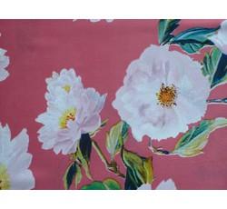 Hedvábí - hedvábí 8749 jahodové s květy