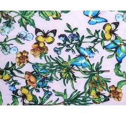 Halenkoviny - halenkovina 8757 růžová s květy a motýli