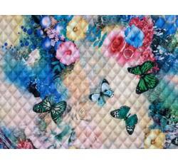 Úplety - prošívaný úplet 8746 s motýly modrorůžový