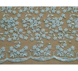 Krajky - světle modrá elastická krajka 8843 s korálky