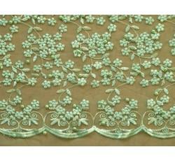 Krajky - světle zelená elastická krajka 8843 s korálky