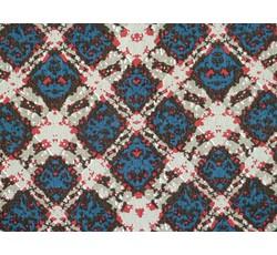 Úplety - viskózový úplet 8924 modro béžové čtverce