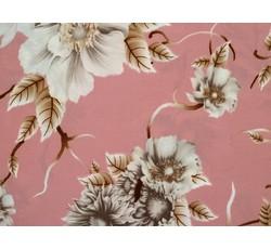 Halenkoviny - lososová hedvábná halenkovina 8850 s květy