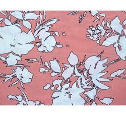 Halenkoviny - viskózová halenkovina 8955 lososová bílé květy