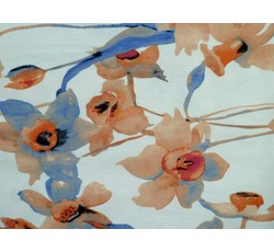 Satény - bílý satén 4928 růžové květy