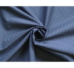 Bavlněné látky - bavlněný popelín 8936 tm.modrý s puntíky