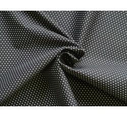 Bavlněné látky - bavlněný popelín 8936 černý s puntíky