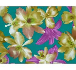 Halenkoviny - zelená látka 8968 s květy
