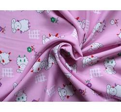 Bavlněné látky - růžová bavlněná látka 9290 s beránky