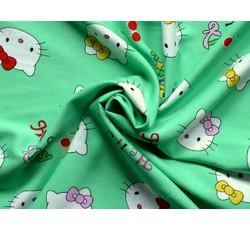 Halenkoviny - zelená viskóza 9308 Hello Kitty