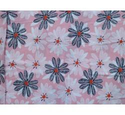 Halenkoviny - růžová viskóza 9019 s květy