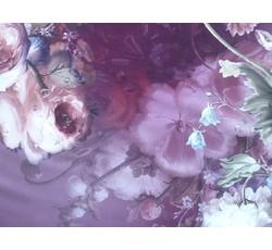 Hedvábí - vínové hedvábí 9021 s květy