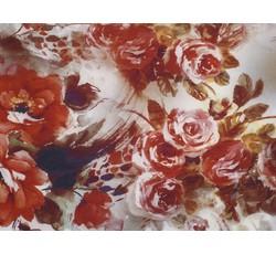 Hedvábí - hedvábná halenkovina 9310 hnědobéžová s květy