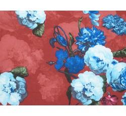 Halenkoviny - karmínová halenkovina 9295 s růžemi