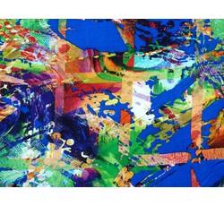 Halenkoviny - modrá viskózová halenkovina 8852 se vzorem