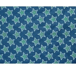 Rifloviny - modrá košilová riflovina efetto s hvězdami