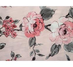 Hedvábí - růžová hedvábná šatovka 9640 s květy