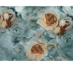 Šatovky - zelená hedvábná šatovka 9647 s růžemi