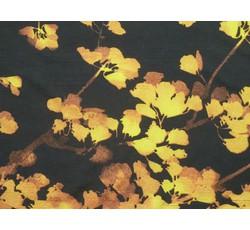 Halenkoviny - hedvábná halenkovina 9649 černá žluté listy