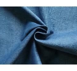 Rifloviny - modrá džínovina 8939 s flockem nápisy