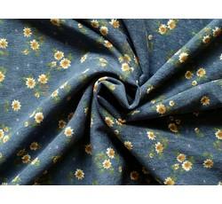 Manšestry - úzký tmavě modrý manšestr 9632 s kvítky