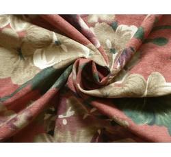 Manšestry - úzký rumělkový manšestr 9632 s květy