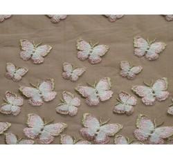 Tyly - elastický tyl 9674 s růžovými motýly