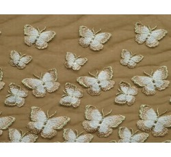 Tyly - elastický tyl 9674 s béžovými motýly