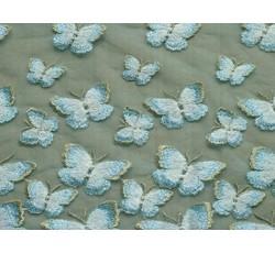 Tyly - elastický tyl 9674 s tyrkysovými motýly