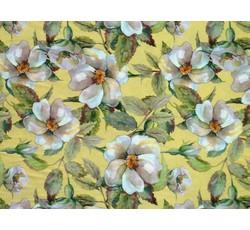 Hedvábí - žlutá hedvábná šatovka 9644 s květy