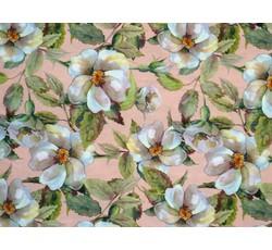 Hedvábí - lososová hedvábná šatovka 9644 s květy