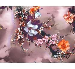 Hedvábí - vínová hedvábná šatovka 9646 s květy