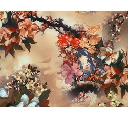 Hedvábí - meruňková hedvábná šatovka 9646 s květy
