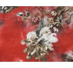 Hedvábí - červená hedvábná šatovka 9646 s květy