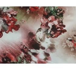 Hedvábí - růžová hedvábná šatovka 9646 s květy