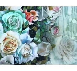 Hedvábí - hedvábná šatovka 9696 tyrkysová růže na kameni