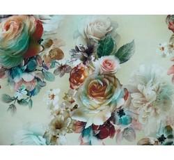 Hedvábí - hedvábná šatovka 9696 smetanová s květy