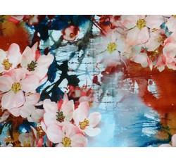 Šatovky - modrá hedvábná šatovka 9710 s květy