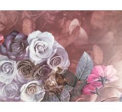 Hedvábí - šatovka hedvábí 9653 hnědočervená s růžemi