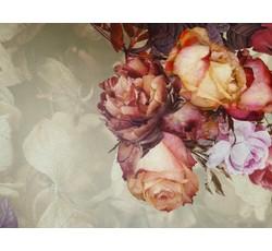 Hedvábí - šatovka hedvábí 9653 béžová s růžemi