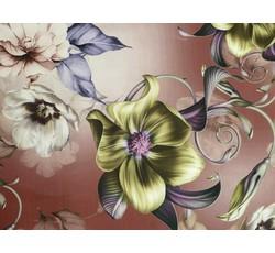 Hedvábí - šatovka hedvábí 9653 měděná hnědá s liliemi