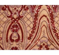 Krajky - elastická krajka 9735 rubínová s flitry