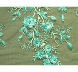 Krajky - zelenkavá elastická krajka 9739 s perličkami