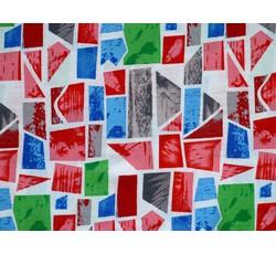 Halenkoviny - viskózová šatovka 9746 červené modré geometrické tvary